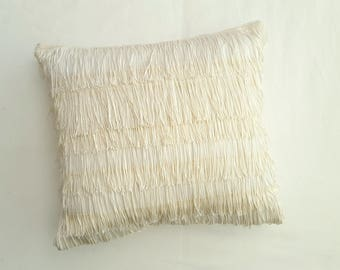 White and Off-White Flapper Hand-Made Decorative Throw Pillow Cover and Insert