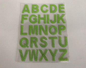 Rhinestone plate green alphabet sticker