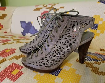 Light Grey-Brown Peep Shoes - Size 10