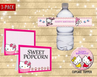 Hello kitty bottle wrapper- food label- DIY happy birthday party decoration - Digital file printable