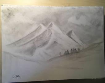 Mountain scene drawing