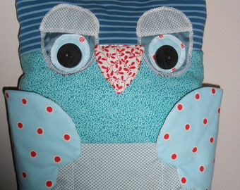 Pillow, OWL pillow for kids room or living room, playful, blue
