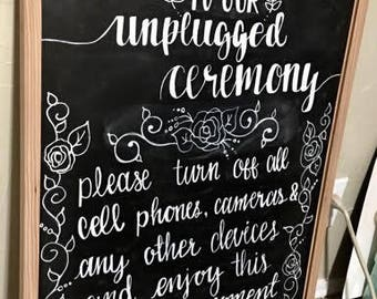 Custom Hand lettered chalk board