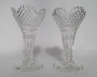 Art Nouveau Bohemia Small Crystal Vases – A Pair