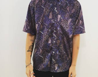 men's phycadelic button up // 80s style // surfer skater festival buttonup