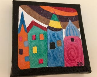 Houses sunshine rainbow - One Beautiful hand-painted colourful enamel painting on square canvas