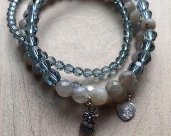 Set of Labradorite and Swarovski Crystal bracelets with pendant.