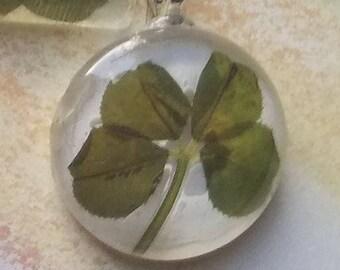 Genuine Shamrock 4 leaf clover pendant necklace