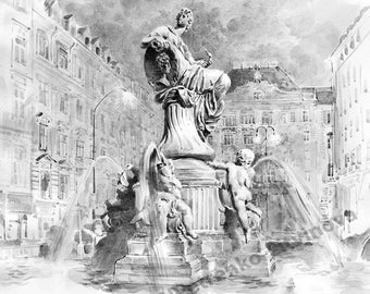 Reproduction Art Print watercolors Vienna Austria Cityscape Fountain of Georg Raphael Donner Landmarks Black and white art