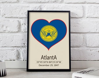 Atlanta poster Atlanta  art Atlanta City poster Georgia Atlanta print wall art Atlanta wall decor Gift print