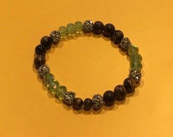 Tiger Eye/Green Crystal Bracelets