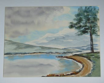 Mystic Mountain original hand-painted watercolor