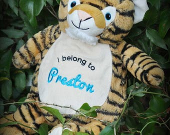 Personalized Baby Cubbies, Custom Embroidered Tiger Stuffed Animal for Kids