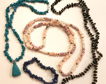 Vintage Lot of Three Faux Gemstone And Shell Necklaces and One Faux Gemstone Chip Stretch Bracelet