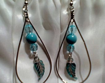Blue Tear drop feather earings