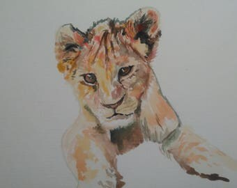 Lion Cub in Watercolour