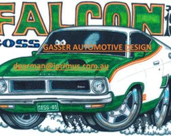 Ford Falcon John Goss Limited Laminated A3 Print