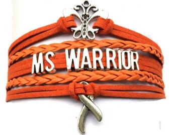 Multiple Sclerosis Warrior - Leather Bracelet