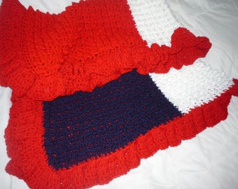 Crochet red white and blue baby kid Blanket