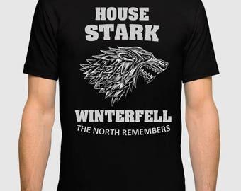 House Stark Winterfell T-shirt Game of Thrones Men's Women's Tee