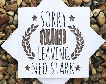 Personalised Sorry You're Leaving Card, Sorry You're Leaving, Personalised, Greeting Card, Laser Cut