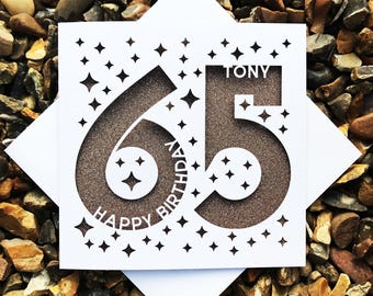 Personalised Happy 65th Birthday, Happy 65th, 65th Birthday Cards, Laser Cut, Birthday Cards, 65th Dad, 65th Mum, Personalised cards