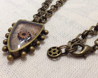 Mini Sheild Gear Steampunk Necklace
