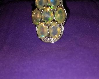 Sparkling silver & Ethiopian opal ring