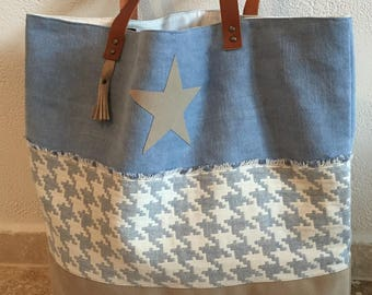 Sky blue and beige linen tote bag