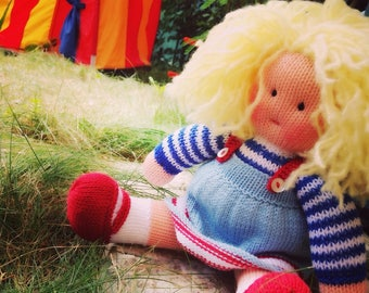 Knitted Waldorf inspired doll