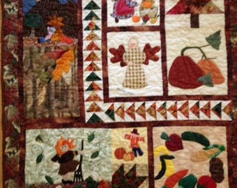 """Handmade,""""Autumn Angel"""" quilted wall hanging 38"""" (w) x 43"""" (h)"""