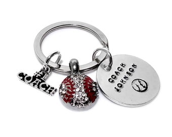 Baseball Coach Keychain Personalized Sports Fan Team Champs Gift