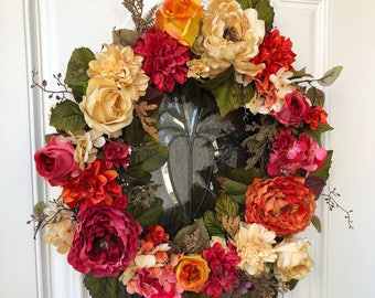Spring wreath, summer wreath, everyday wreath, front door wreath, wreath for door