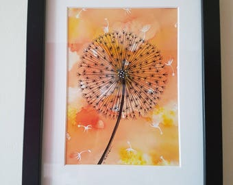 Seed Head- Ink and Watercolour Original Artwork