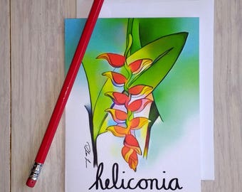 Set of 5 Heliconia Note Cards