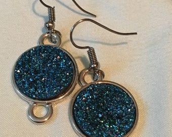 Shimmering blue rock earrings