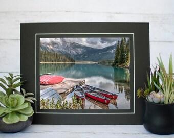 Red Canoes at Emerald Lake Photography Print, Canadian Rockies Photography, 8x10 Print, Yoho National Park