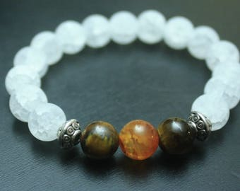 Crystal quartz, tigers eye and amber bracelet