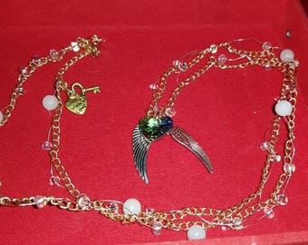 Angel and heart chain necklace