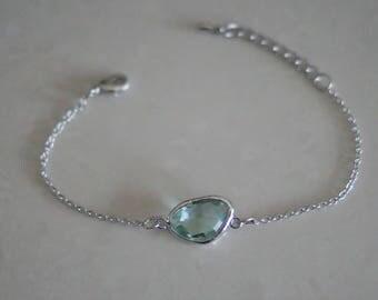 Erinite (green) - wrist - glass stone silver chain bracelet anklet