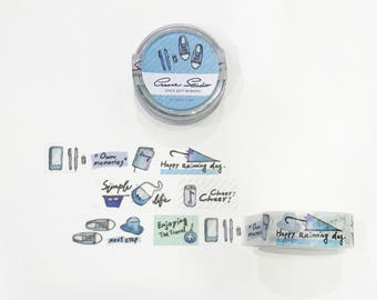 Simple life Washi Tape [Blue]-Watercolor Papertape,Illustration,gifts,Washi Tape,Stationery store,Masking Tape,Watercolor tape,travel