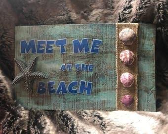 "Mixed Media Wall Hanging ""Meet Me At The Beach"""