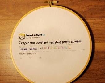 "Embroidery Hoop Wall Art - Donald Trump ""Covfefe"" Tweet Quote"