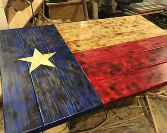 Wooden texas flag, Distressed Texas state flag, Lone Star flag, rustic wall flag