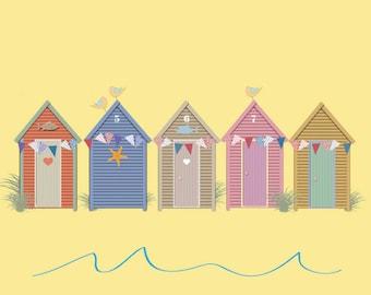 Blue Skies - Beach Hut Card