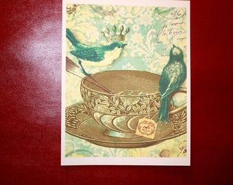 "Vintage ART PRINT Tea Time and Blue Birds 8 1/2""x 11"""
