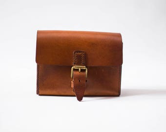 Leather Bag, Satchel, Light Brown Small Belt Bag, Bronze Leather Bag, Mens Leather Bag, Womens Brown bag, Pouch, Coin Purse, Traveller