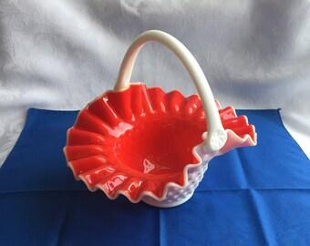Vintage Kanawha glass bridal basket