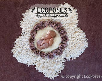 Newborn Digital Backdrop - Newborn Digital Background - Floral Wreath Baby Girl Digital Photo Prop - Instant Download -  EcoPoses 1568
