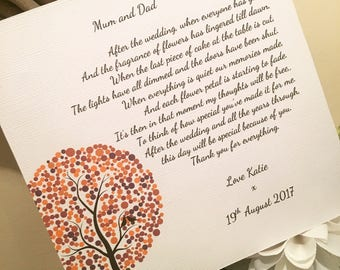 Mum and Dad Wedding Thank You - Wooden Plaque - Personalised - Customisable
